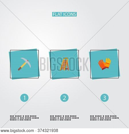 Set Of Industrial Icons Flat Style Symbols With Pick Axe, Worker Gloves, Ladder And Other Icons For