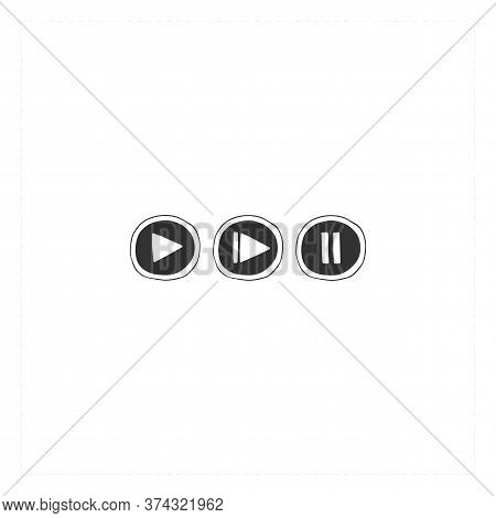 Cinema Isolated Objects, Video Recording Buttons. Vector Hand Drawn Icons. Movie Record.