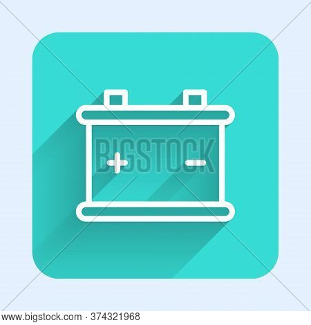 White Line Car Battery Icon Isolated With Long Shadow. Accumulator Battery Energy Power And Electric