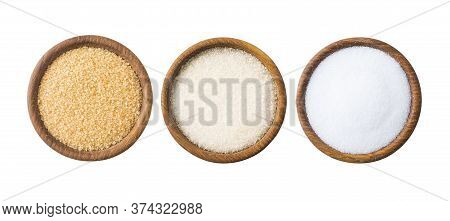 Heap Of Cane Sugar, White Sugar And Erythritol Isolated On White  Top View. Sugar Substitute And Nat