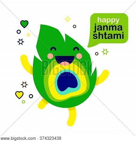 Cute Smiling Cartoon Peacock Feather Sri Krishna Janmashtami Character With Speech Bubble Text Happy