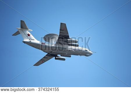 Moscow, Russia - June 24,2020: Air Parade Of Russian Aircraft  Il-76 A50U Russian Air Forces Will Fl