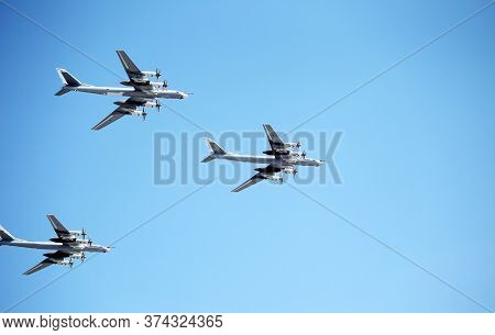 Moscow, Russia - June 24,2020: Air Parade Of Russian Aircraft Tu-95Ms Will Fly Over Kremlin And Red