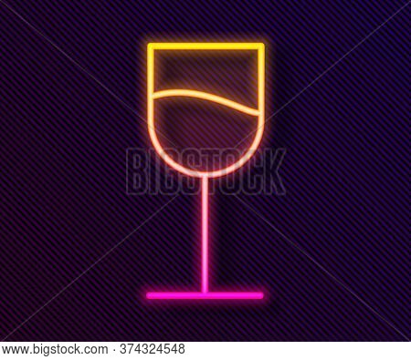 Glowing Neon Line Wine Glass Icon Isolated On Black Background. Wineglass Sign. Vector Illustration