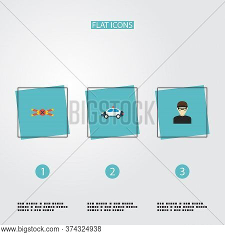 Set Of Criminal Icons Flat Style Symbols With Criminal, Cop Car, Crime Scene And Other Icons For You