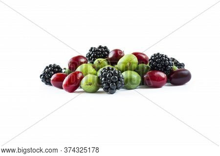 Berry Isolation. Mix Berries Isolated On White Background. Actinidia And Blackberries With Copy Spac