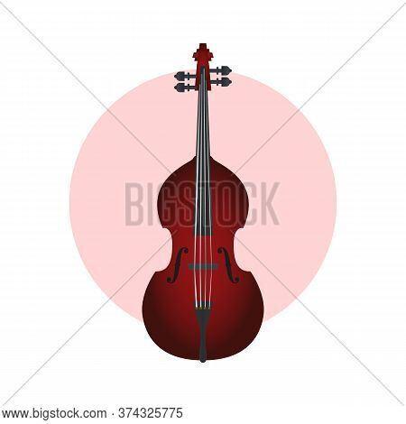 Stylish Vector Red Double Bass On A Yellow Circle Background. Red Double Bass.