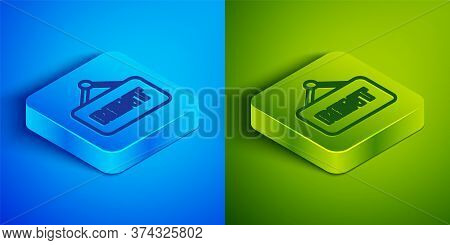 Isometric Line Hanging Sign With Text Rent Icon Isolated On Blue And Green Background. Signboard Wit