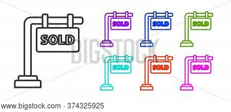 Black Line Hanging Sign With Text Sold Icon Isolated On White Background. Sold Sticker. Sold Signboa