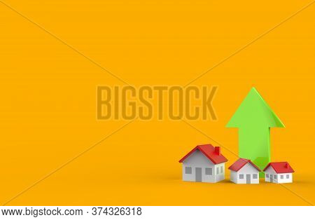 Real Estate Business Growth With Green Arrow. 3d Illustration.
