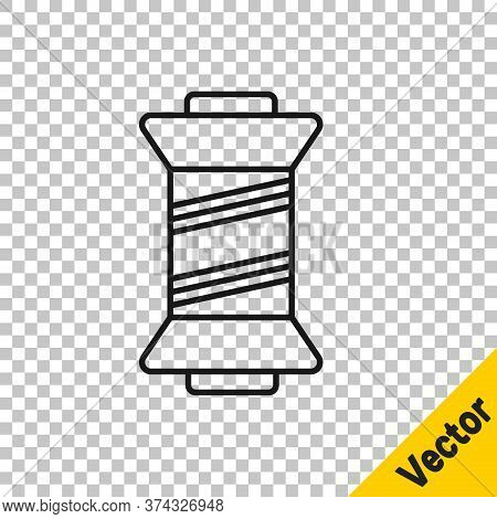 Black Line Sewing Thread On Spool Icon Isolated On Transparent Background. Yarn Spool. Thread Bobbin