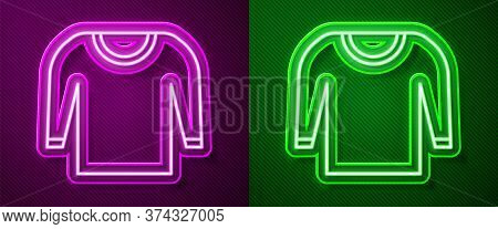 Glowing Neon Line Sweater Icon Isolated On Purple And Green Background. Pullover Icon. Vector Illust