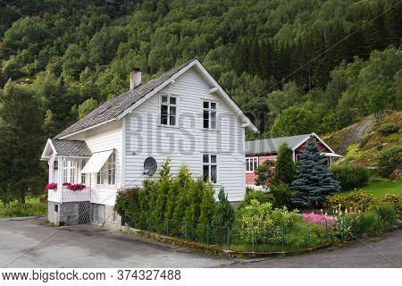 Vestland, Norway - August 13, 2010: Generic Residential Building, Wooden House In Vestland, Norway,