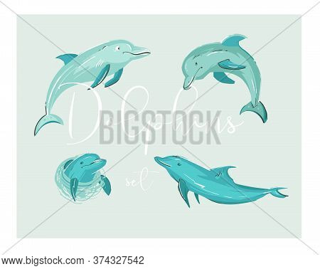 Hand Drawn Vector Cartoon Tropical Dolphins Illustration Set In Blue Colors Isolated.