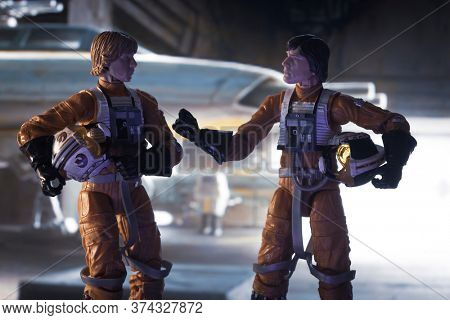 JUNE 28 2020 - depiction of a scene from Star Wars with Luke Skywalker and Wedge Antilles before a mission in the Rebel base hanger - Hasbro action figure