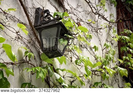 Old Lantern Hanging On A Stone Wall. Antique Retro Lamp Hang On Home Exterior. Grunge Broken Light S