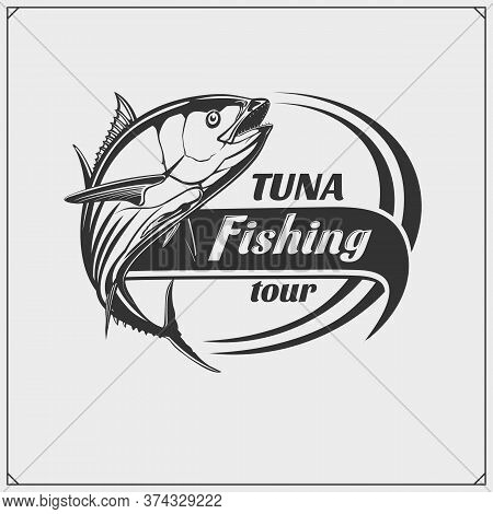 Tuna Fishing Vector Emblem. Black And White Design.
