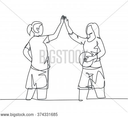 One Line Drawing Of Young Happy Women Giving High Five Gesture Before Playing Basket Ball At Outfiel