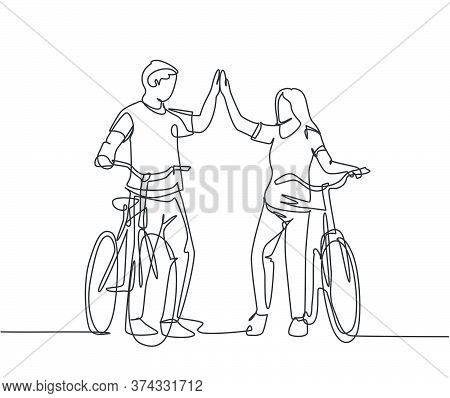 One Line Drawing Of Young Happy Couple Male And Female Take A Walk With Bicycle At Outfield Park And