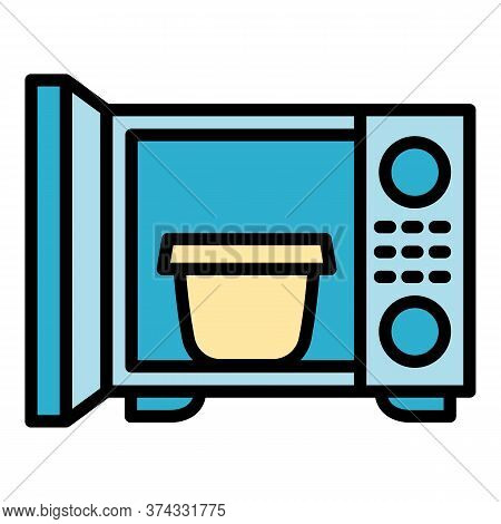 Open Microwave Icon. Outline Open Microwave Vector Icon For Web Design Isolated On White Background