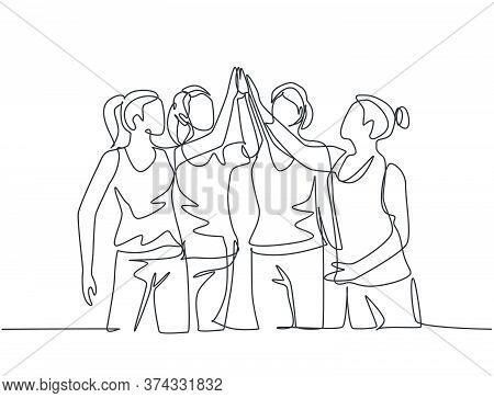 One Line Drawing Of Group Of Young Happy Women Giving High Five Gestures After Doing Some Aerobics E