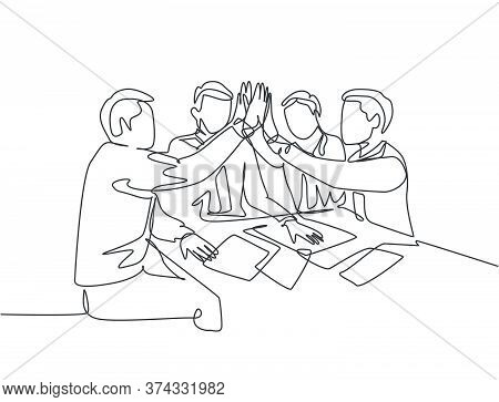 One Line Drawing Of Young Businessmen And Businesswomen Celebrating Their Successive Goal At The Bus