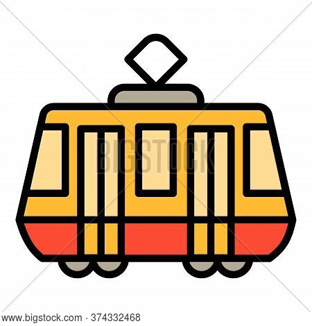 Tram Car Icon. Outline Tram Car Vector Icon For Web Design Isolated On White Background