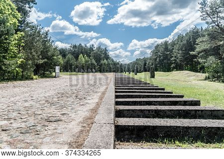Wolka Okraglik, Poland - June 2, 2020: Rail Track Monument In Nazi German Extermination Camp Treblin