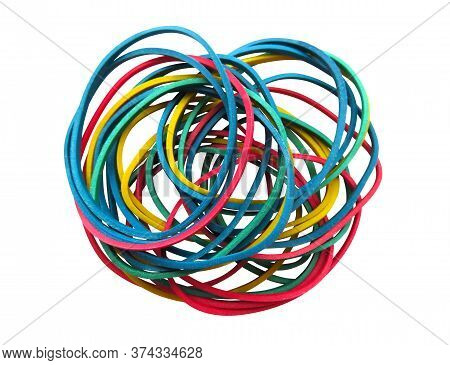 Colorful Rubber Bands Isolated On White. Clipping Path Included.
