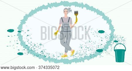 Girl With A Paint Brush In Hands, Smear And Paint Splatter - Vector. Banner Diy Home Repair.