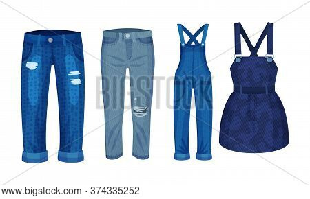 Denim Blue Clothing Items As Womenswear With Denim Jumpsuit And Pair Of Jeans Vector Set
