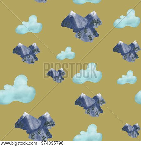 Blue Sky With Clouds And Snowy Mountains On Brown Background. Seamless Pattern. Travel, Tourism, Out