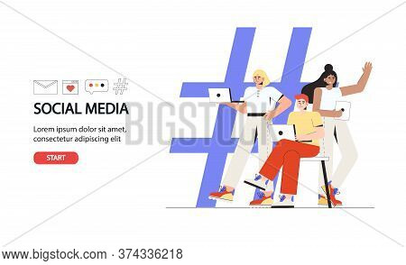 Social Media Concept For Banner And Website. Hashtag - Big Symbol With People Using Laptop And Table