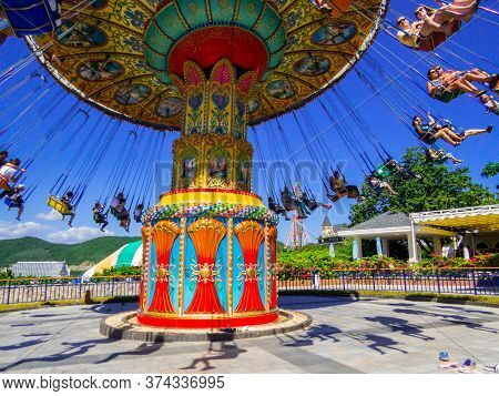 Nha Trang, Vietnam - December 23, 2019: People Having Fun In The Vinpearl Amusement Park.