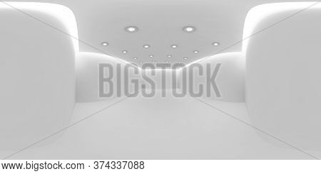 Empty White Room Hdri Environment Map With White Wall, Floor And Ceiling With Small Embedded Round C