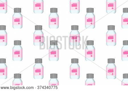 Medical Background With A Plastic Containers For Pills On White Background. Medicine Bottle With A P