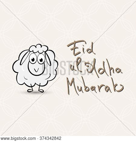 Eid Al Adha Mubarak Greeting With Sheep And Lettering Calligraphy