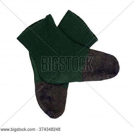 Woolen Dark Green , Gray, Socks Isolated On A White Background. Winter Accessories.socks Top View