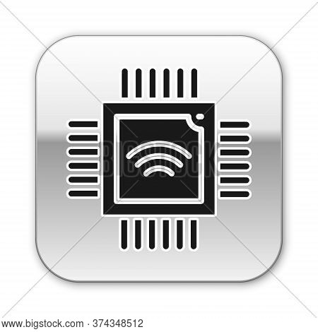 Black Computer Processor With Microcircuits Cpu Icon Isolated On White Background. Chip Or Cpu With