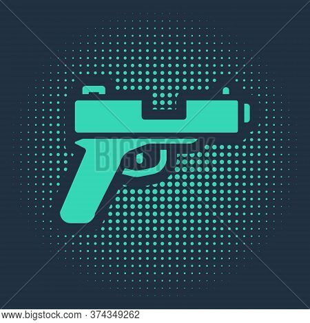 Green Pistol Or Gun Icon Isolated On Blue Background. Police Or Military Handgun. Small Firearm. Abs