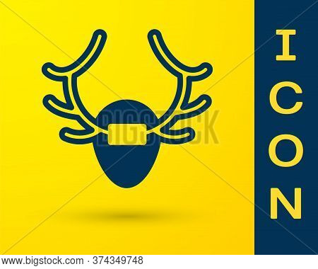 Blue Deer Antlers On Shield Icon Isolated On Yellow Background. Hunting Trophy On Wall. Vector