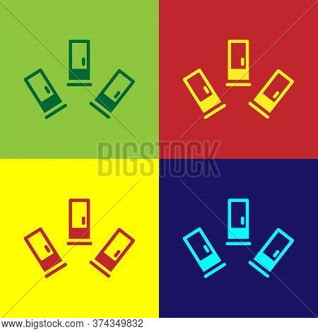 Pop Art Cartridges Icon Isolated On Color Background. Shotgun Hunting Firearms Cartridge. Hunt Rifle