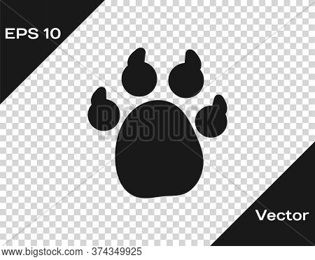 Black Paw Print Icon Isolated On Transparent Background. Dog Or Cat Paw Print. Animal Track. Vector