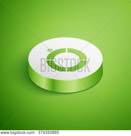 Isometric Lifebuoy Icon Isolated On Green Background. Lifebelt Symbol. White Circle Button. Vector