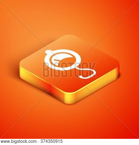 Isometric Spring Scale Icon Isolated On Orange Background. Balance For Weighing. Determination Of We