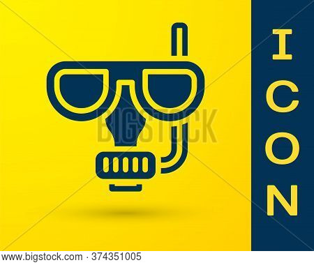 Blue Diving Mask And Snorkel Icon Isolated On Yellow Background. Extreme Sport. Diving Underwater Eq
