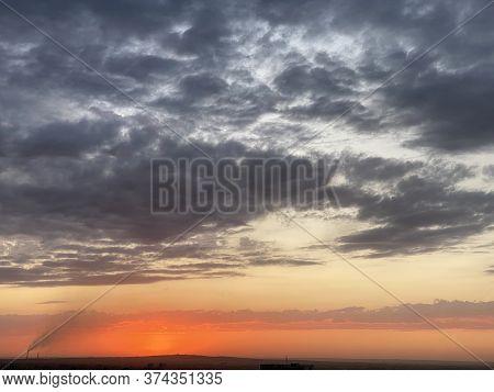 Sun Rising Over Almaty City Skyline, Kazakhstan