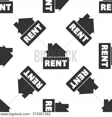 Grey Hanging Sign With Text Rent Icon Isolated Seamless Pattern On White Background. Signboard With