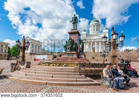 Helsinki, Finland - June 2019: Helsinki Cathedral And Tzar Alexander Ii Monument On Senate Square