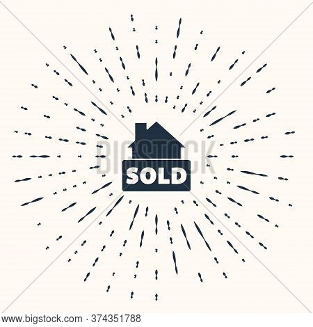 Grey Hanging Sign With Text Sold Icon Isolated On Beige Background. Sold Sticker. Sold Signboard. Ab